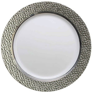 "Hammered Collection Dinner Plate White Silver 10.25"" Decorline"