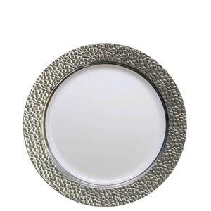 "Hammered Collections Salad Dessert Plate White Silver 7.25"" Decorline"