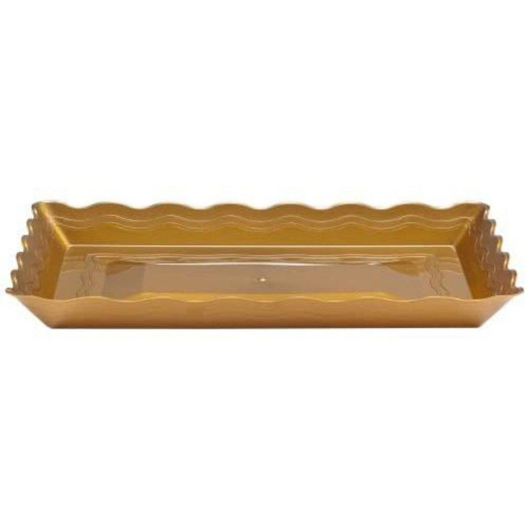 9''X13'' Gold Plastic Rectangular Tray