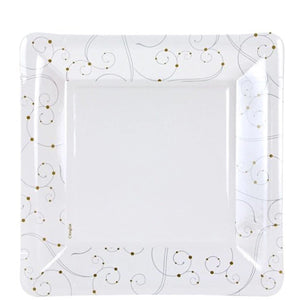 "Hanna K. ColleCtion Swirls Pearls Square Paper Plate Silver Gold White 9"" Hanna K Signature"