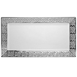 "Inspiration Collections Plastic Serving Trays Silver White 14"" X 7.25"" 2Ct Decorline"