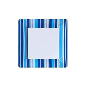 Blue Stripe Square Plates 7""