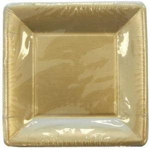 Lillian Square Paper Plates Solid Gold 9""
