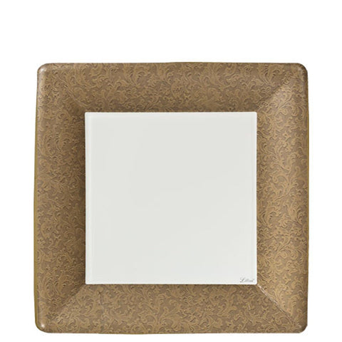 "Lillian Tablesettings Texture Square Dinner Paper Plates Gold 7"" 24Ct"