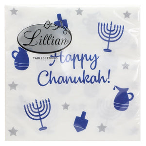 Happy Chanukah Luncheon Blue Paper Napkins 2-Ply