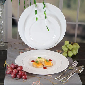 Magnificence Plastic Dinner Plate Pearl White 10.25""
