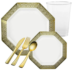 LACETAGON COLLECTIONS LACE GOLD RIM PLASTIC TABLEWARE PACKAGE