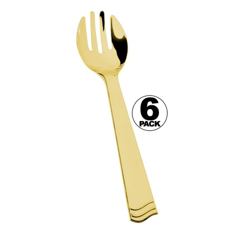 Lillian Tablesetting Polished Plastic Serving forks Gold 6Ct