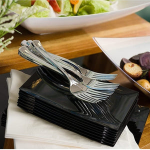 Cutlery Silverware Extra Heavyweight Disposable Flatware Combo Silver 160Ct