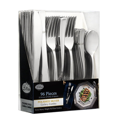 Cutlery Silverware Extra Heavyweight Disposable Flatware Combo Silver 96Ct - OnlyOneStopShop
