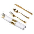 Pre-Rolled Cutlery Combo Spoon, Knife, Forks and Napkin Polished Gold