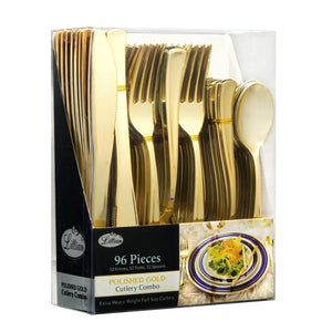 Cutlery Silverware Extra Heavyweight Plastic Disposable Flatware Combo Gold 96Ct - OnlyOneStopShop