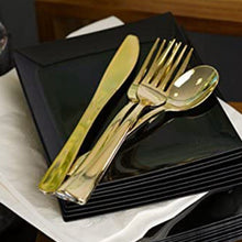 Cutlery Silverware Extra Heavyweight Disposable Flatware Knives Gold