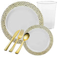 PEBBLED COLLECTIONS GOLD PLASTIC TABLEWARE PACKAGE