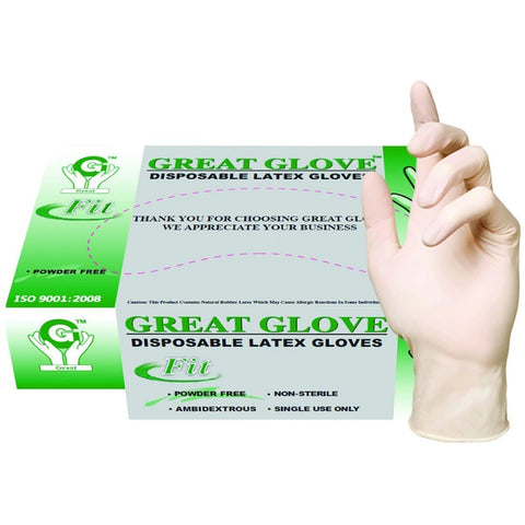 100 PC Latex Powder Free Disposable Gloves - Medium