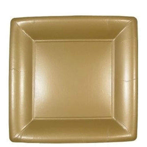"Lillian Square Paper Plates Solid Gold 9"" Lillian"