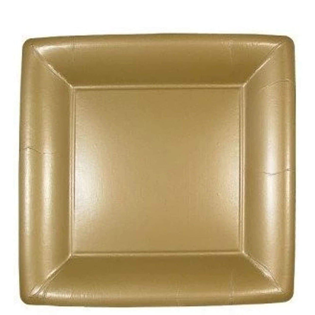 Lillian Square Paper Plates Solid Gold 9