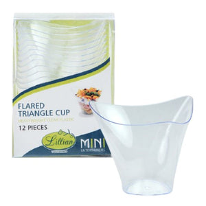 Lillian Tablesettings Mini Plastic Flared Triangle Clear Cup Lillian
