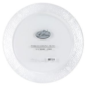 "Lillian Tablesettings Round Pebbled Tray Pearl 14"" Lillian"