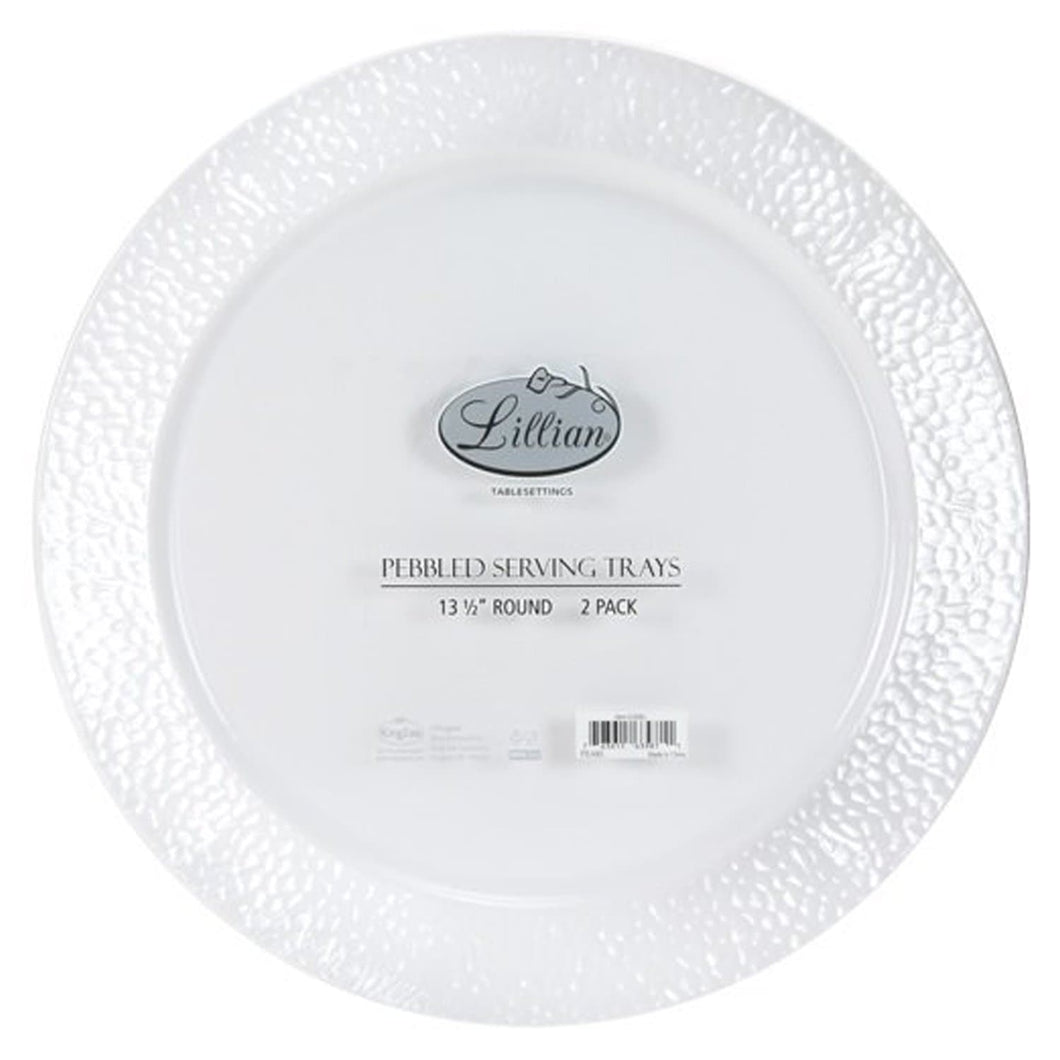 Lillian Tablesettings Round Pebbled Tray Pearl 14