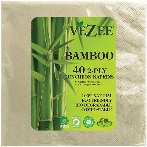 VEZEE BAMBOO DISPOSABLE LUNCHEON NAPKINS 2 PLY 40CT