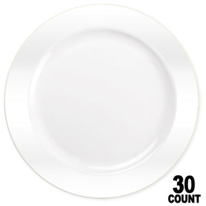 "Magnificence Plastic Dinner Plate Pearl White 10.25"" Lillian Tablesettings"