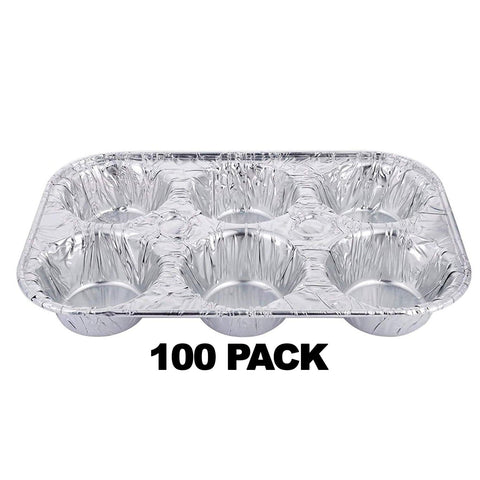 Aluminum Muffin Pan 6 Cups 100PK