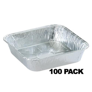 "Disposable Aluminum 8"" Square Cake Pan 100PK"