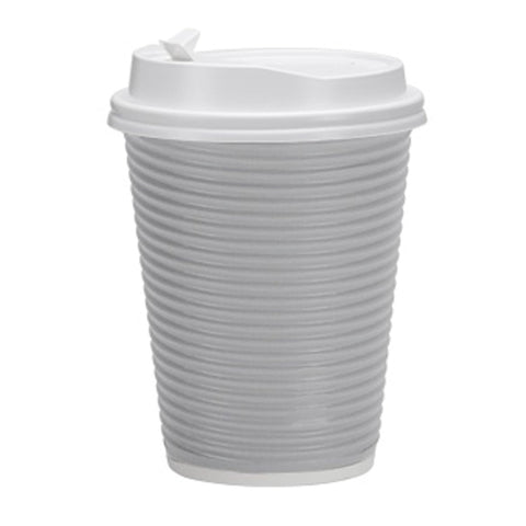 Paper Cup Ripple Hot Cold Silver with lid 12 oz 30Ct