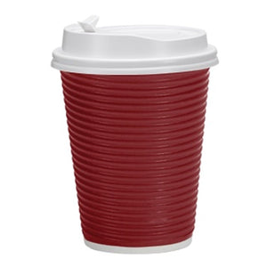 Paper Cup Maroon Hot Cold with lid 12 oz