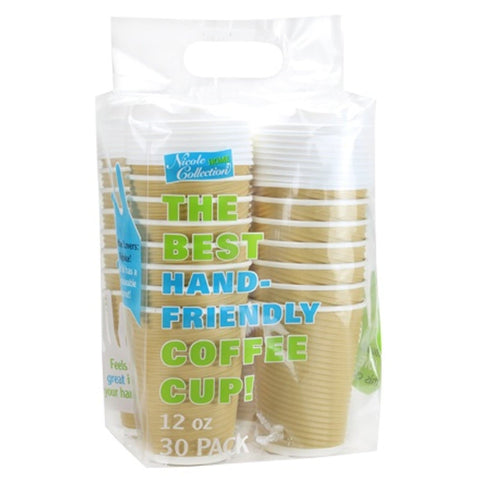 Paper Cup Tan Hot Cold with lid 12 oz 30Ct