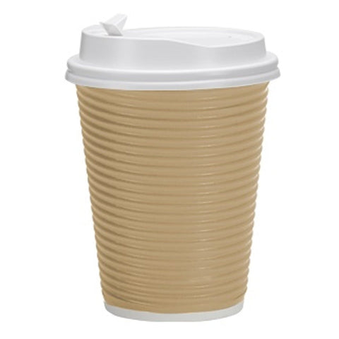 Paper Cup Tan Hot Cold with lid 12 oz