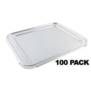 Disposable Aluminum 1/2 Size LID for Regular, Heavy, Extra Heavy Weight Pans - 100PK