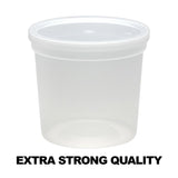 Extra Strong Quality Round Plastic Container with Lid, 24oz 5Ct