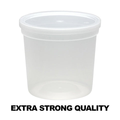 Extra Strong Quality Round Plastic Container with Lid 24 oz 5Ct