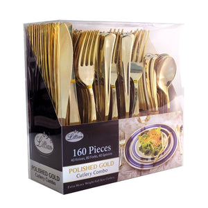 Cutlery Silverware Extra Heavyweight Disposable Flatware Combo Gold 160Ct - OnlyOneStopShop