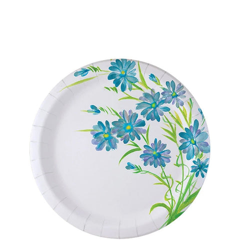 "Nicole Home Collection Everyday Paper Plate Blue Floral 7"" 48Ct"