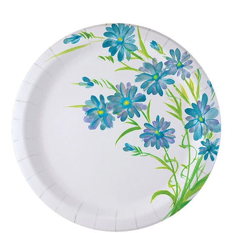 "Nicole Home Collection Everyday Paper Plate Blue Floral 9"" 48Ct"