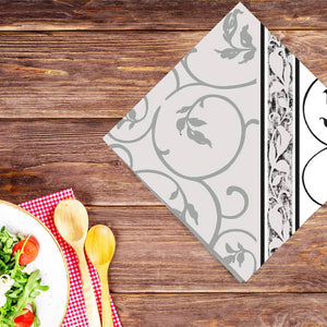 Black Curlicue Disposable Lunch Paper Napkins