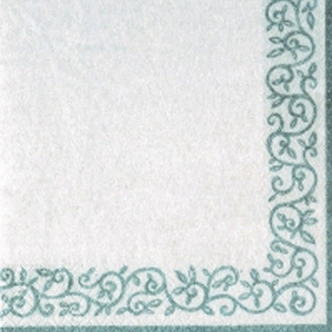 Romantic Border Cocktail Napkins White Silver 20Ct - OnlyOneStopShop