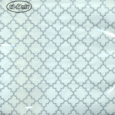 Quattrefoil Lattice Fine Lunch Napkins Silver 20Ct - OnlyOneStopShop