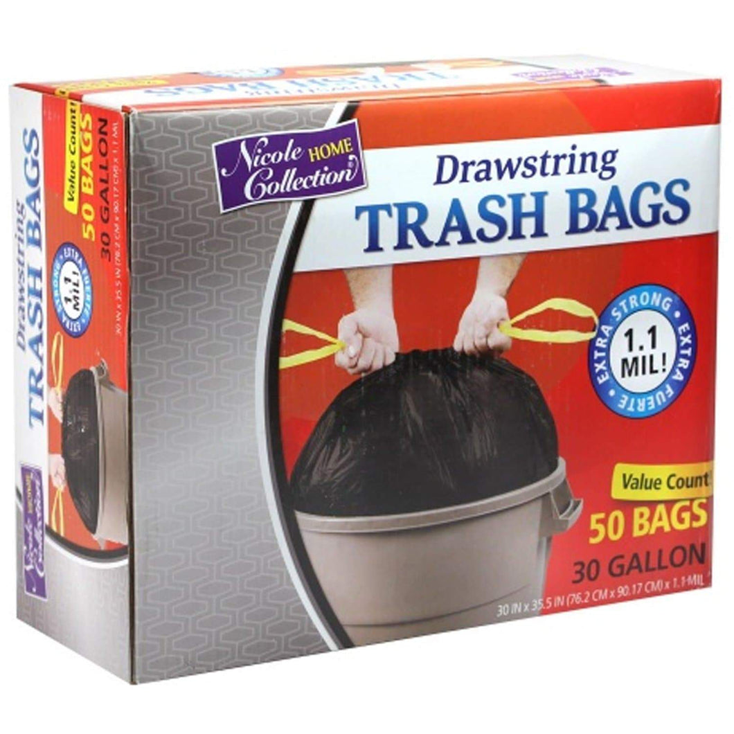 Nicole Home Collection Drawstring Trash Bags, 30 gal Nicole Collection