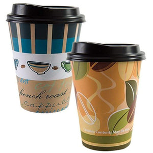Paper Cup Coffee Bean Pattern Hot Cold with lid 12 oz Nicole Collection