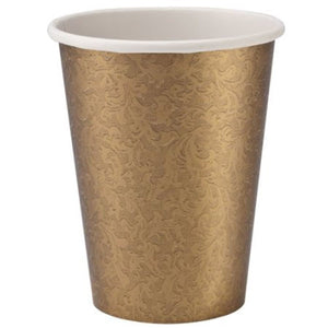 Paper Cup Gold Texture Hot Cold 9 oz Lillian