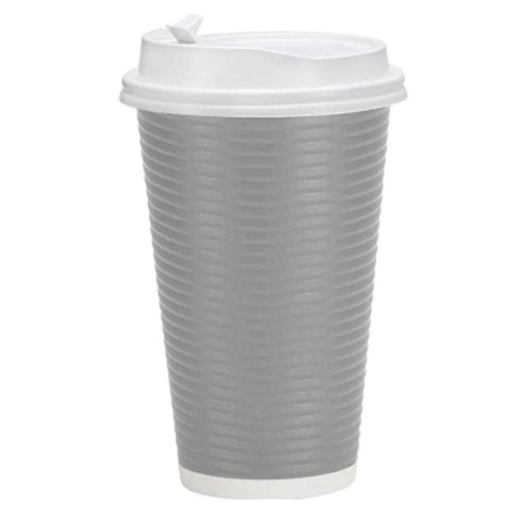 Paper Cup Ripple Hot Cold Silver with lid 16 oz Nicole Home