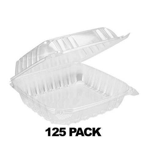 "8"" x 8"" x 3"" Square Clear Plastic Hinged Deli Container - 125Pk"