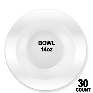 Premium Quality Heavyweight Like Plastic Bowls White Pearl 14 oz Lillian
