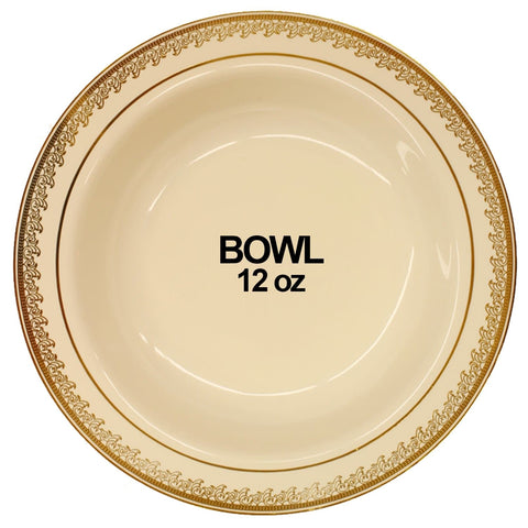 Prestige Collection Plastic Soup Bowls Cream Gold 12 oz