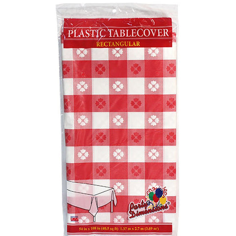 Tablecover Plastic Red Gingham Rectangular  54'' X 108''