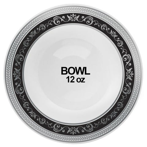 Royal Collection Ornament Plastic Soup Bowls Black Silver 12 oz